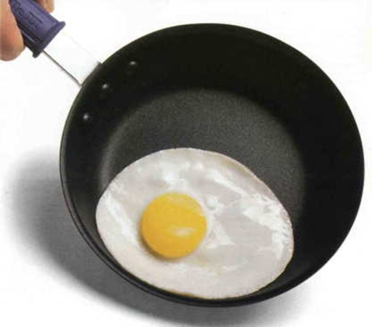 teflon pan and eggs